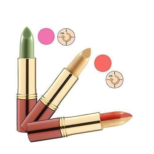 IKOS Lippenstift 3er Set: der denkende Lippenstift grün/nachtrosa + gelb/apricot und...