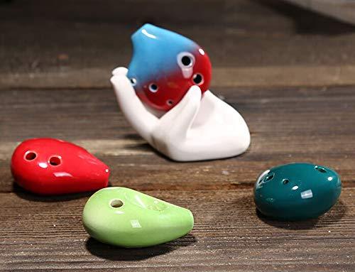 ZJL220 6 Loch Ocarina Sopran C Key Keramik Flauta Ocarina Handgefertigte Mini Ocarina Flöte Spielzeug Musikinstrumente (zufällig gesendete Farbe) ARA