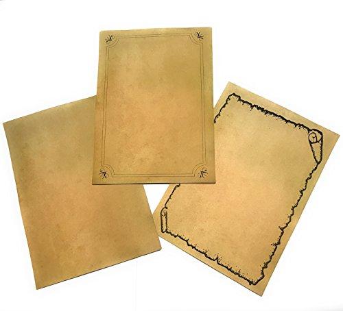 Fogli a effetto anticato–per laurea, pergamena, scheda di tesoro,...–set di 30fogli–3modelli x 10–formato a4–grammatura 90g–effetto ingiallito fronte/retro