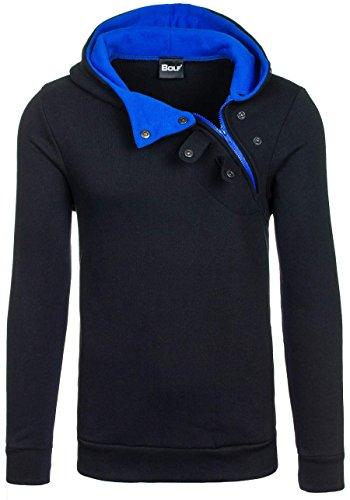 BOLF Herren Kapuzenpullover Sweatshirt Hoodie Pullover Sweatjacke Sportsweastshirt Mix 1A1 Schwarz-Kobaltblau_06S