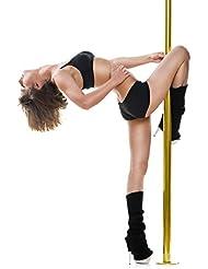 Klarfit Gold Dust barra de baile (giratoria o fija, desmontable, con juego de herramientas, altura ajustable hasta 2,74 m, acero inoxidable, resiste hasta 120 kg) - dorado