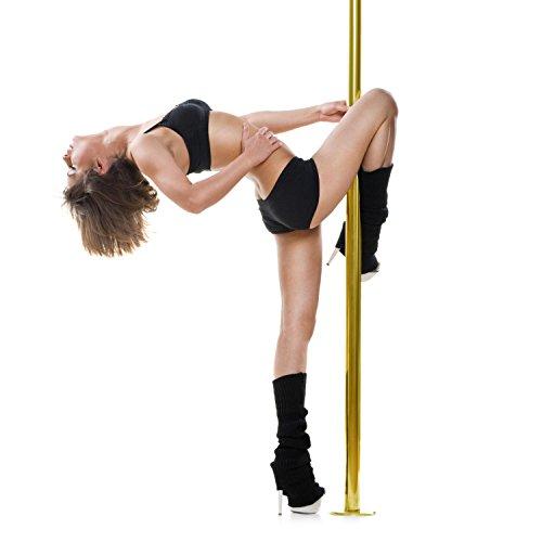 Klarfit Gold Dust • Tanzstange • Poledance Stange • Static Spinning • 45 mm Durchmesser • 2 Modi: drehend/statisch • 2 74 m • Edelstahl • bis 120 kg belastbar • transportabel • gold (Stangen Für Zuhause Dance)