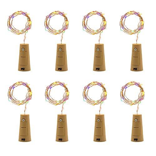 Dicomi 8er 2m 20-LEDs Korkleuchten Kupferlampe Dekorative Licht Flexibel für Weinflaschen, Bar, Party, Weihnachten, Dekoration, Innen und Außen Mehrfarbig
