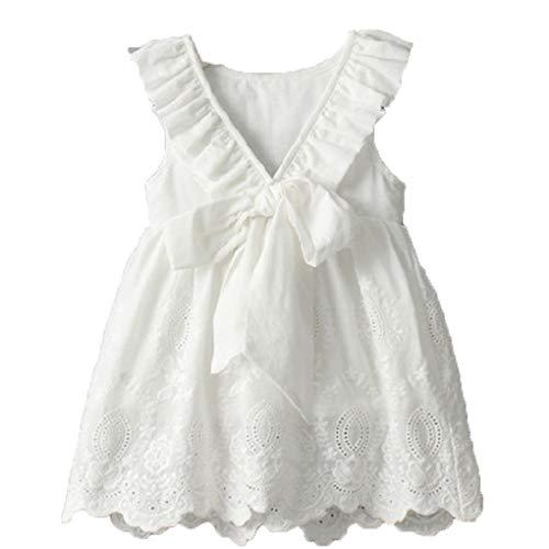Plzlm Nettes Baby Solide Stickerei A-Linie für Kinder kurzes Kleid Mädchen schnüren Sich Oben Backless Sleeveless Scoop Neck Kleid Linie Scoop Neck