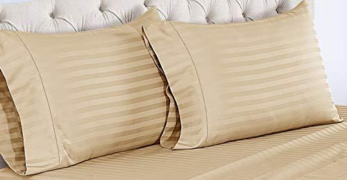 ISABELLA CROMWELL Kissenbezüge, Fadenzahl 500, Baumwolle, 100 Pima-Baumwolle, Reiner Satin, Lange Heftklammern, Ultra-weich, 2 Stück Standard Pillow Case Oatmeal (Damask Stripe) -