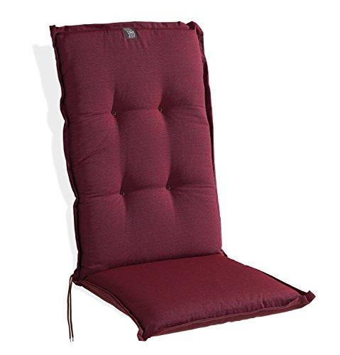 Sesselauflage Sitzpolster Gartenstuhlauflage für Hochlehner BEERE 1 | 48x120 cm | Bordeaux