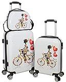 set à 3 vacances valises voyage bagages trolley vanity coque rigide 4 roues legér...