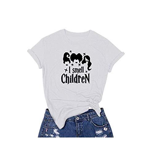 Smonke Damen Sexy Shirt Halloween Brief drucken T-Shirt Lässige Bluse Kurzarm O-Neck Kleidung Lose Sweatshirts Polyester Mode Frauen Oberteile -
