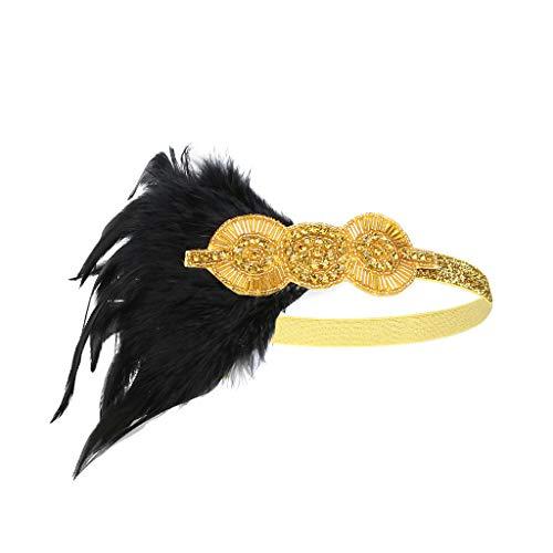 UJUNAOR Damen Indisches Federstirnband 1920er Stil Feder Stirnband Gatsby Party(Gold,One size)