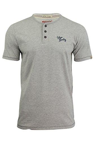 Herren Henley T-Shirt von Tokyo Laundry, kurzärmelig Light Grey Marl
