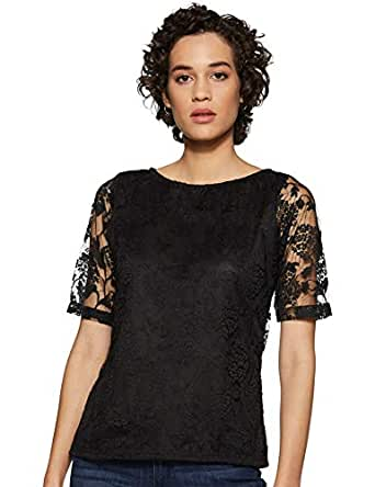 Miss Olive Women's Floral Slim fit Top (MOSS19TP30-01-62_Black_XS)