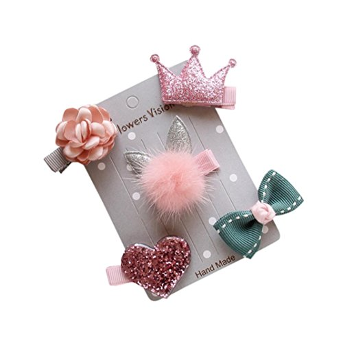 PAOLIAN 5Pcs Infant Children Hairpin Baby Girl Flower Bow Barrettes Star Clip Hair Set (Pink)