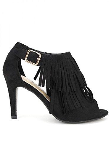 Cendriyon, Sandale peau cuir noire LILINA Chaussures Femme Noir