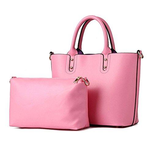 koson-man-2-in-1-donna-stile-vintage-con-tracolla-borsa-tote-bags-rosa-rosa-kmukhb376