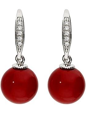 MYA art Damen Perlenohrringe Hängend Ohrhänger Hängende Ohrringe mit Perlen Zirkonia Strass Steinen Vergoldet...