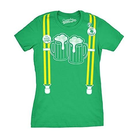 Womens Suspenders Beer Mugs Im Irish Tonight Pin Funny St. Patrick's Day T shirt (Green) L