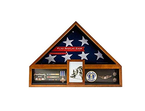 TANGGOOD Military Veteran Flagge und Medaille Vitrine-Shadow Box ABC -