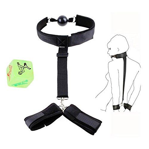 RianGor Bondage Fesseln Kostüm Kit Kostüm Paare Einstellbare Handschellen zurück Gürtel mit Würfel