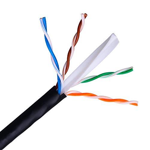 AISENS A135-0263 - Netzwerkkabel für den Außenbereich, wasserfest, RJ45, (starr, AWG24, 100-m-Spule, UV-beständig), Schwarz