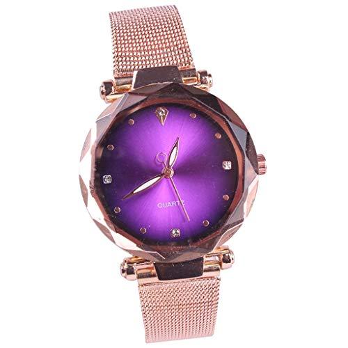 ADAHX Quarz Watch, Starry Sky Gold Mesh Mit Wasserdichten einfachen Runde Dial Wrist Uhren, Ladies Watch Birthday, Jubiläum, Purple