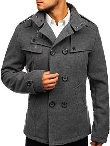 BOLF Herren Mantel mit modische Steppeinsätze Herrenmode Knopfleiste eleganter Look Coat PPM 8857 M Grau [4D4]