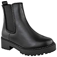 Fashion Thirsty Womens Black Stud Studded Chunky Ankle Boots Pull On Chelsea Stretch Spike Punk