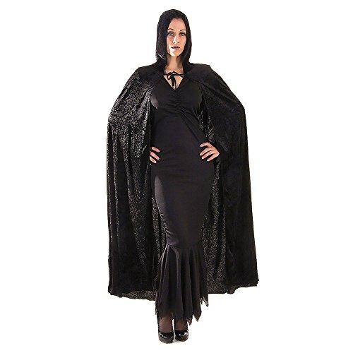DELEY delle Donne del Costume di Halloween di Velluto con Cappuccio Mantello del Capo Masquerade Cosplay Accessori Nero