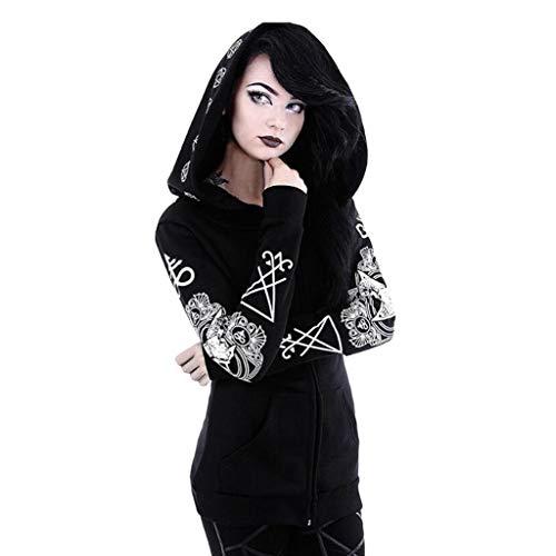 Gothic Kleidung Damen Dasongff Steampunk Bluse Frauen Vintage Pulli Pullover Sweatshirt Slim Fit Oberteile Mit Kapuze Kapuzenpullover Punk Schwarz Hoodie Plus Größe S-5XL - Gothic-damen-sweatshirt