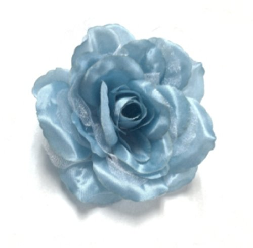 Cuteque International cqa106-aqua 3-teilig verpackt Satin Organza Rose Verschönerungen, 4-Zoll, Aqua (Blue Ribbon Quilts)