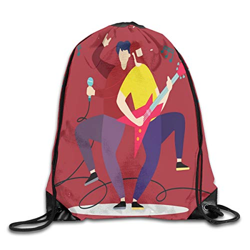 Rock And Roll Duvet Cover Set Queen Size, Energetic Rock Band Silhouette On Colorful Background Music Theme Print,Multicolor_2Drawstring Shoulder Backpack - Rock Band Silhouette