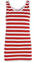 LADIES WHERES WALLY RED AND WHITE STRIPED TSHIRT WOMENS VEST TOP HAT GLASSES