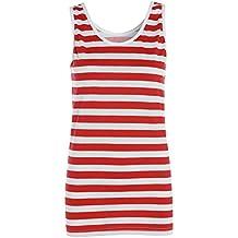 TrendyFashion - Camiseta sin mangas - Rayas - cuello barco - Sin mangas - para mujer