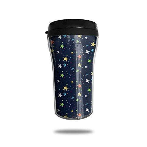 Color Star Travel Coffee Mug Delicate Printing Portable Vacuum Cup,Food Grade ABS Insulated Cup Anti-Spill(8.8 OZ)