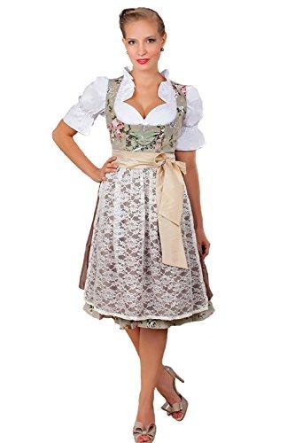 Edles. Traje tirolés de 3 piezas, largo medio, diseño de flores, incluye blusa y delantal, tallas 32a 52 marrón 42