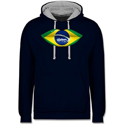 Länder - Lippen Bodypaint Brasilien - Kontrast Hoodie Dunkelblau/Grau meliert