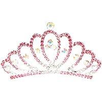 FENICAL Niños Princess Crown Cystal Rhinestone Tiara Peine del Pelo de Gran Tamaño (Rosa)