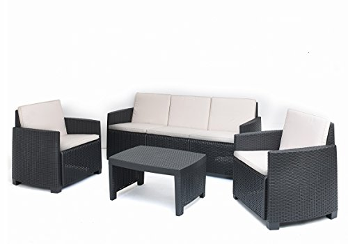 Kunststoff Lounge 'Stromboli' in Rattan Optik inkl. Auflagen von IPAE Progarden, MADE IN EUROPE