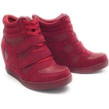 7d6a951b6e71 Baskets Compensées Femmes Montantes – Chaussure Sneakers Bi-Matière Urban Talon  Haut - Tennis Casuel