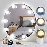 Kit de Lumière LED Miroir, EVILTO lampe pour miroir cosmétique avec 10 marches luminosité & 3 Modes de couleur, 10 LED...