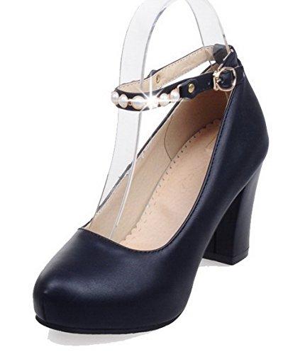 AllhqFashion Femme Pointu à Talon Correct Couleur Unie Boucle Chaussures Légeres Noir