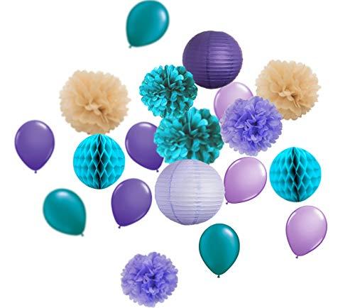 HappyField Meerjungfrau Party Dekorationen unter dem Meer Party Birthday Supplies Baby Shower Dekorationen Petrol/Lavendel lila braun Seidenpapier Pom Pom Geburtstag Dekor (Teal Und Dekorationen Baby-dusche Lila)