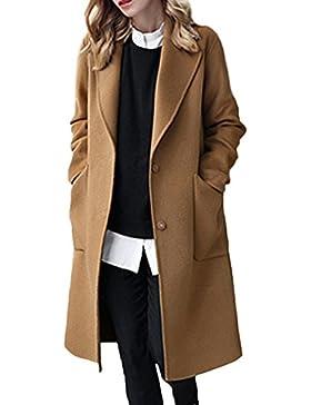 La Mujer Invierno Casual Solid Solapa Frontal Abierto Loose Abrigo De Lana, Prendas De Abrigo Mas Tamaño