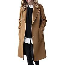 La Mujer Invierno Casual Solid Solapa Frontal Abierto Loose Abrigo De Lana, Prendas De Abrigo