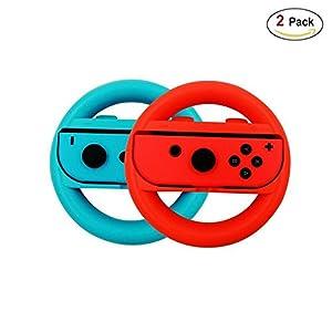 Nintendo Switch Mario Kart 8 Deluxe Lenkrad Joy-Con Racing Wheel Controller Griff Griffe für Nintendo Ergonomic Design Schalter Mario Kart (Blau und Rot)