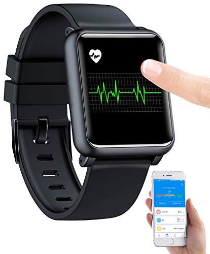 newgen medicals Fitnessuhr: Fitness-Uhr mit EKG- & Blutdruckanzeige, Bluetooth, Touchdisplay, IP68 (Smartwatch Blutdruck)