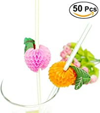 RIANZ 50 Pieces Fruit Designe Cocktail Drinking Straws Theme Party Favors For Suitable For Soft Drink /Juice / Mocktail / Milk Shake - Mixed Color
