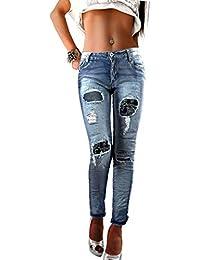 if she Damen Denim Jeanshose mit Ornament-Flicken Stretch Distressed blau verwaschen Used Effekt extrem zerfranst