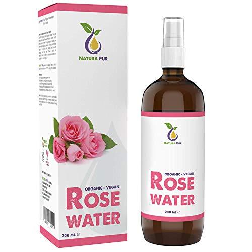 EINFÜHRUNGSPREIS Natura Pur Rosenwasser Bio 200ml - 100% natürlich, pur, vegan - Naturreines Rosen-Hydrolat, Gesichtswasser gegen unreine Haut, Pickel und Akne sowie zum Abschminken