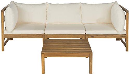 Safavieh Zerlegbare Gartenmöbel & Tisch, Holz, teakbraun/elfenbeinfarben, 69 x 65 x 68 cm