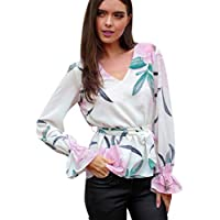 Geili Bluse Damen,Mode Frauen Büro Arbeit Langarm V-Ausschnitt Blumendruck T Shirt Damenmode Tunika Tops Bluse... preisvergleich bei billige-tabletten.eu